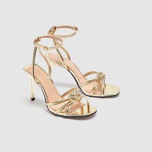 Zara Gold high heel sandals.